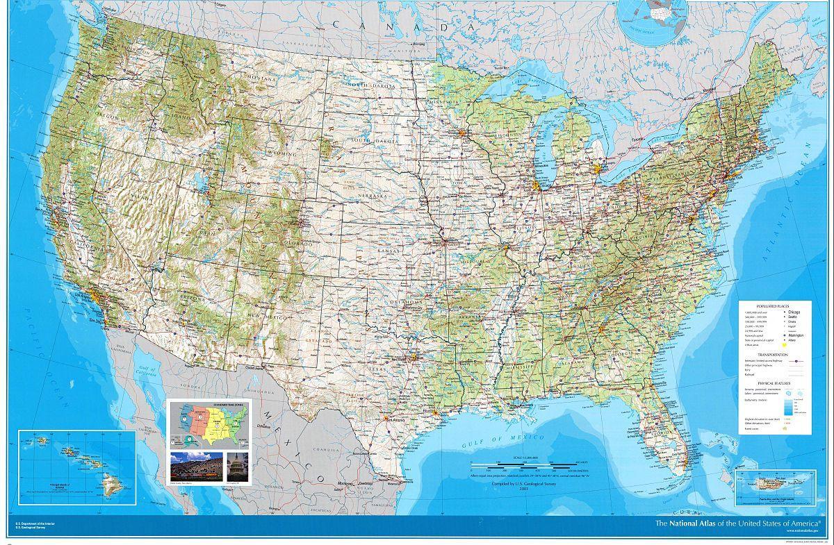 Atlas Kaart Van De Vs Atlas Kaart Van De Verenigde Staten Noord