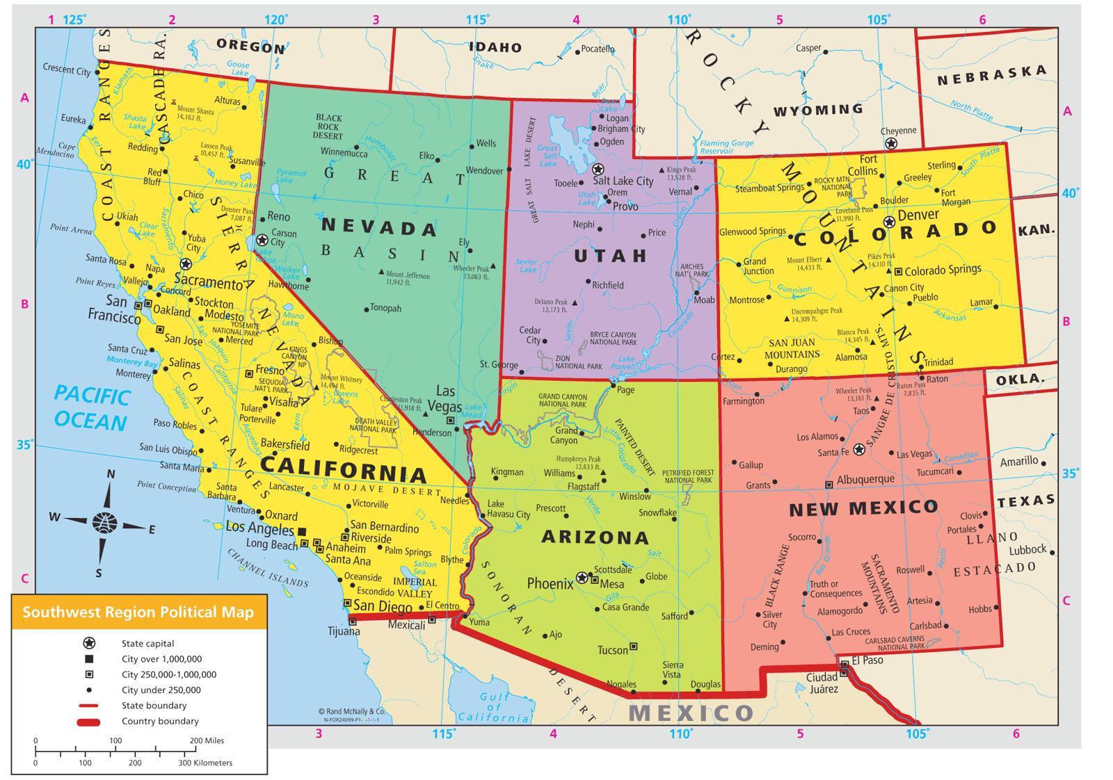 Kaart Van Zuidwest Usa Kaart Zuidwest Usa Noord Amerika Amerika