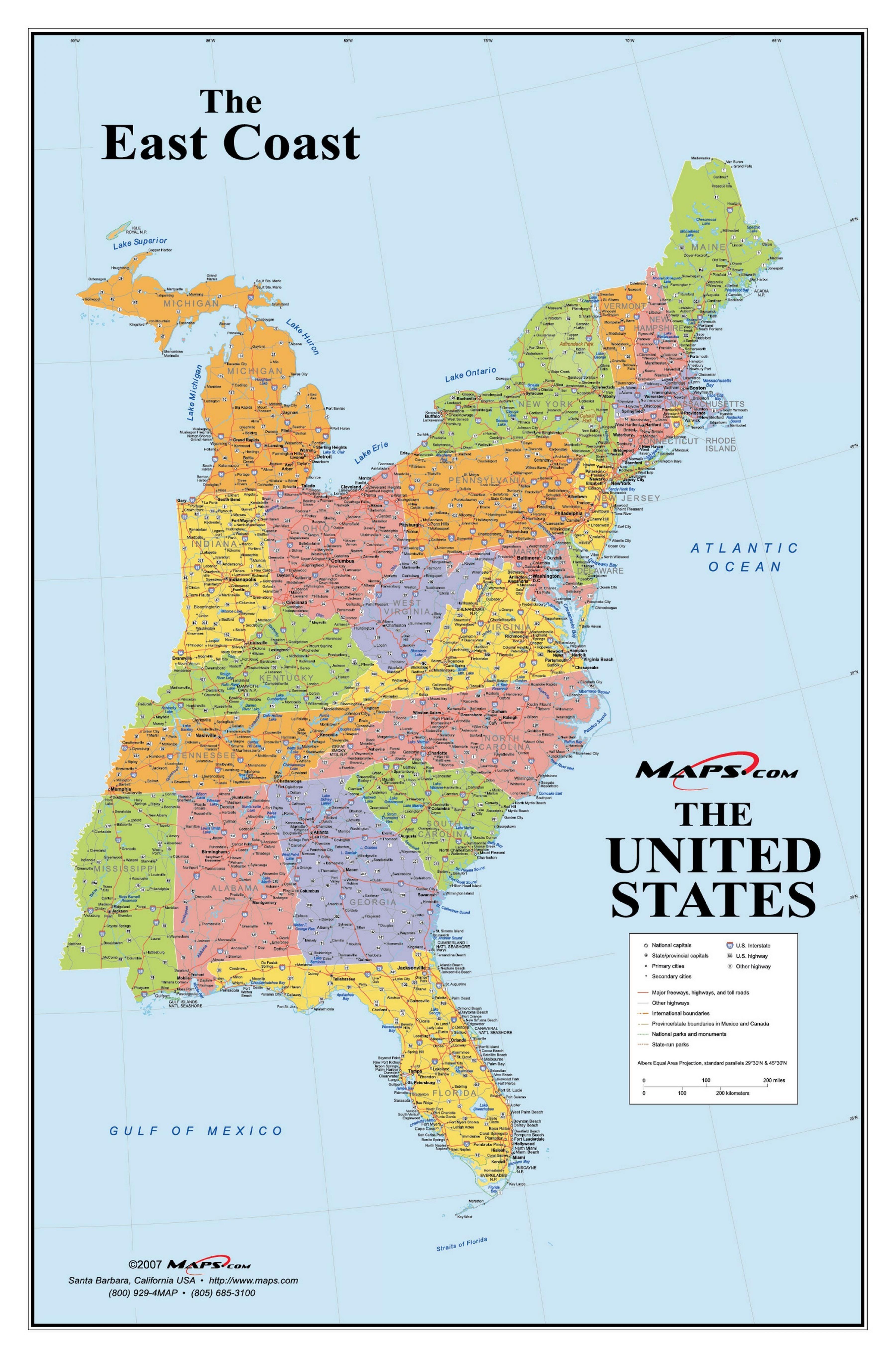 Usa East Coast Kaart Kaart Van De Amerikaanse Oostkust Noord