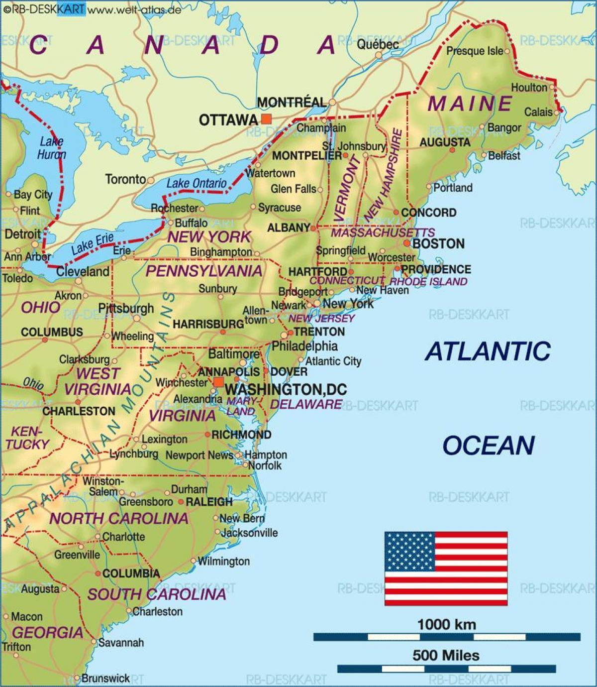 Amerikaanse Oostkust Kaart Kaart Van De Oostkust Van De