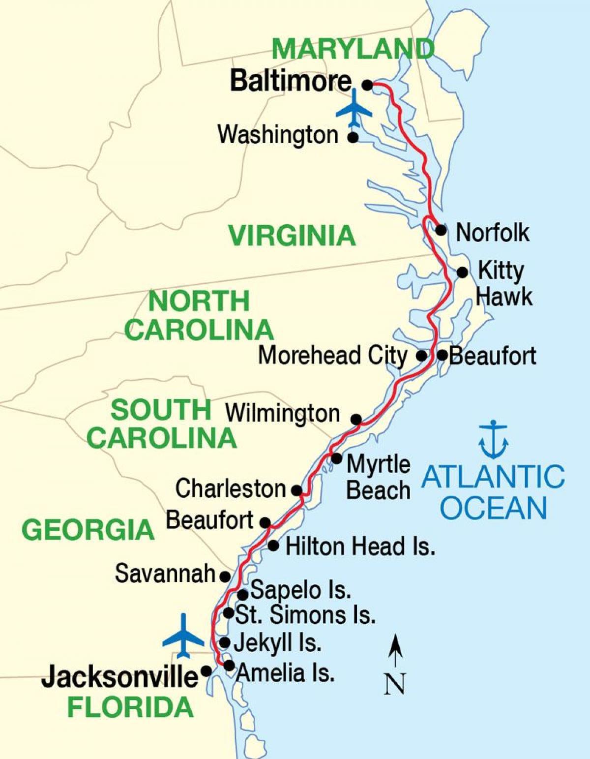 Kaart Van De Oostkust Van De Vs Stranden Kaart Van De
