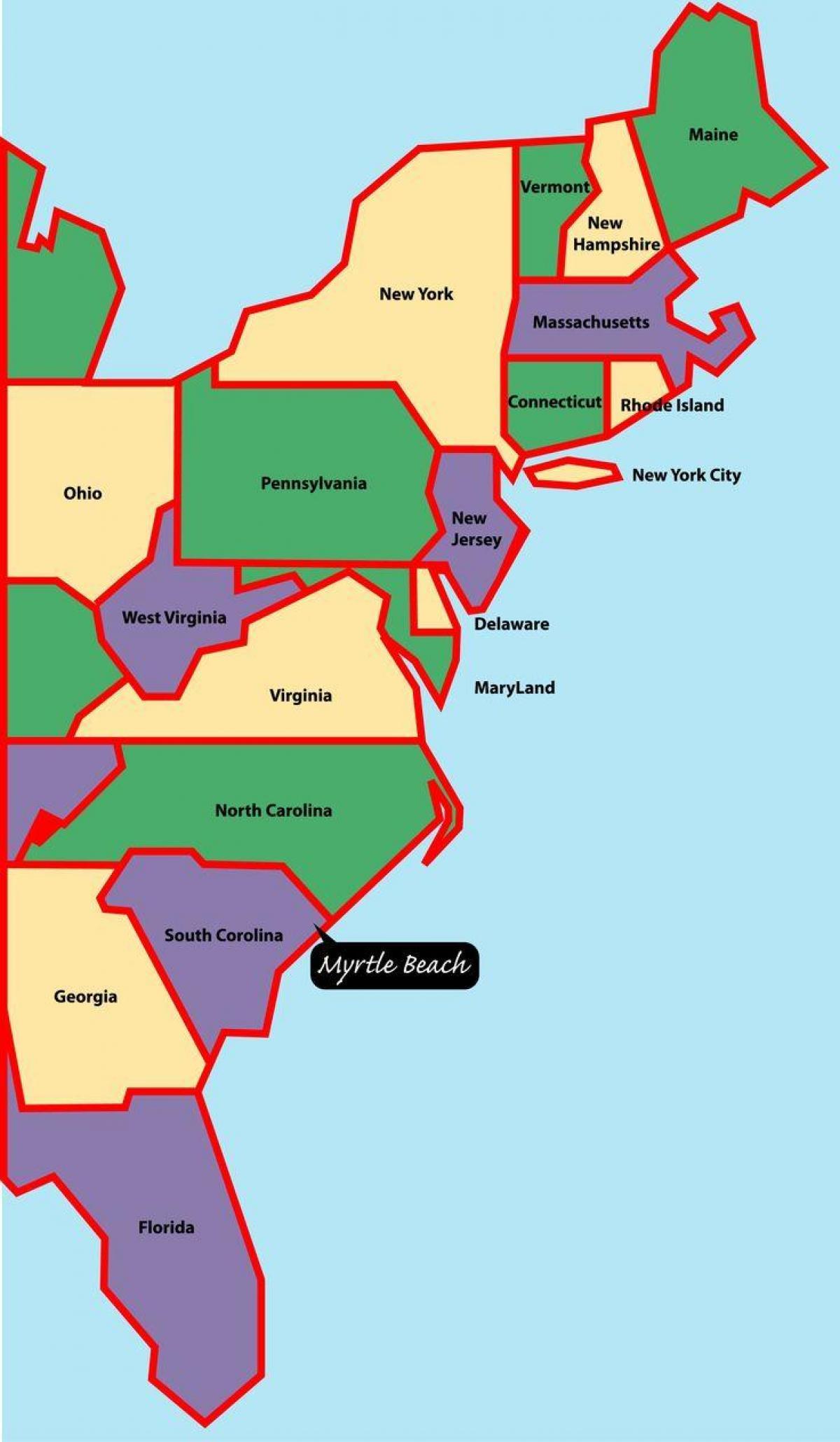 Kaart Van Oost Us Coast Kaart Van De Amerikaanse Oostkust Noord